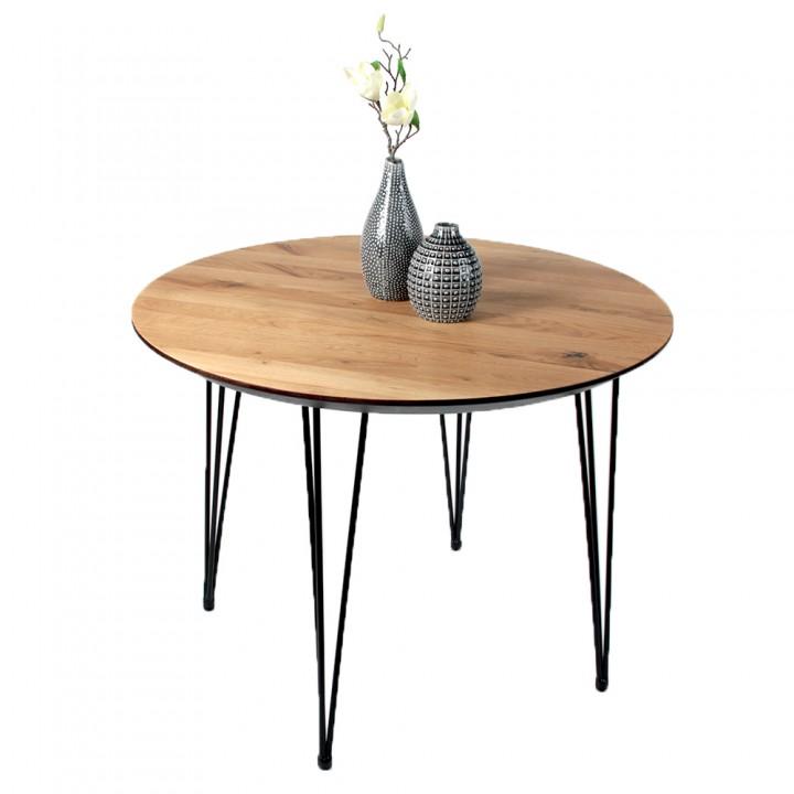 Стол ALTA ROUND 1100 натуральный дуб / S черный